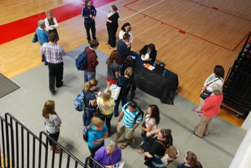 Fans waited to get their book signed at Catawba Valley Community College in April 2015.