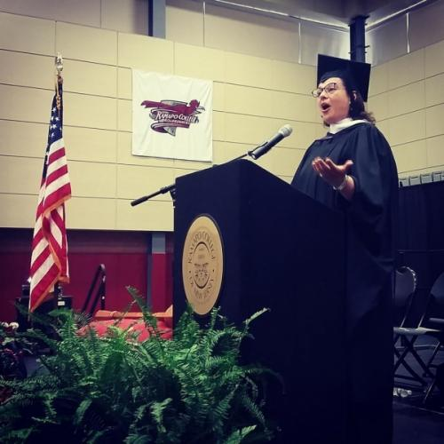 Giving the convocation at Ramapo College, NJ.