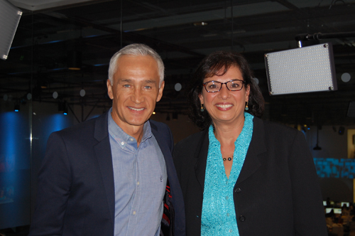 With Jorge Ramos at Univision in Miami in April 2014.