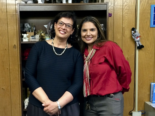 At Las Americas Middle school for newcomers in Houston Independent School District, with the principal Marie Moreno.