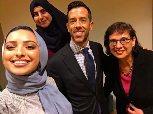 Sonia at Penn State University's student-organized panel with Noor Tagouri and Brian Mosteller, March 2018.