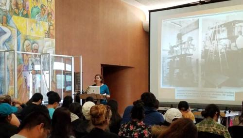Sonia speaking at East Los Angeles College, April 2019.