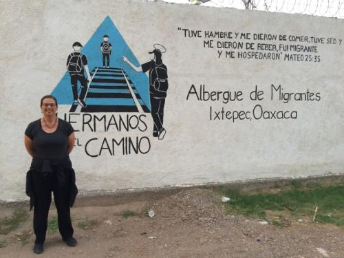 Standing at what become a de facto refugee camp [migrant shelter] in Oaxaca, Mexico. Aug. 2015
